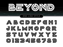 Vektor av det stiliserade rundade teckensnittet och alfabetet