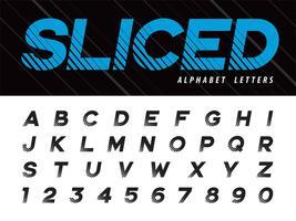 Vektor av Glitch moderna alfabetbokstäver och siffror