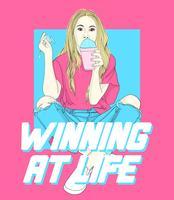 Handritad tjej med drink och vinnande på livstext vektor