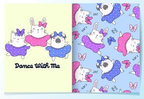 Handritad söt katt, kanin, hunddans med kjolmönsteruppsättning vektor