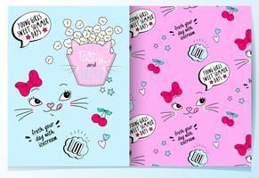 Handritad söt kattpopcorn med mönsteruppsättning
