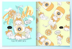 Handritade söta katter med drinkmönsteruppsättning