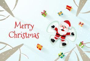 Origamipapperskonst av jultomten som gör snövinklar