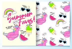 Hand gezeichneter netter Einhornfloss mit anderem Sommereinzelteil-Mustersatz
