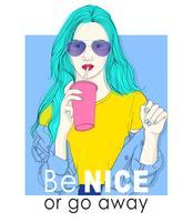 Handritad flicka med solglasögon som dricker med sugrör och typografi