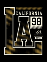 LA, Kalifornien, typografidesign, vektorillustration