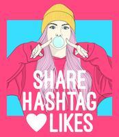 Handritad tjej som blåser bubblan med socialt media typografi