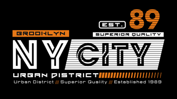 NY City, Brooklyn, typografigrafik, vektorillustration
