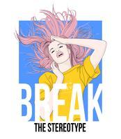 Handritad flicka som vänder hår i luften med typografi vektor