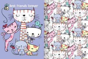 Beste Freunde für immer Hand gezeichnete nette Miezekatze mit Mustersatz