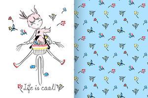 Life is Cool Handritad söt tjej med mönsteruppsättning