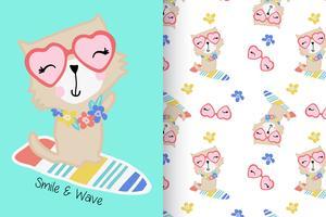 Lächeln und Welle Hand gezeichnete Katze mit Mustersatz