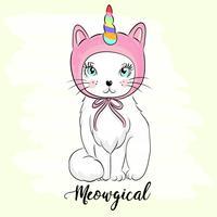 Handgezeichnete süße Katze vektor