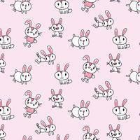 Handritad tecknad baby kaninmönster