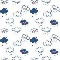 Hand gezeichnete Linie Wolkenmusterhintergrund vektor