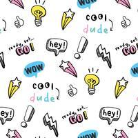 Hand gezeichnete Pastellformen und Phrasenmuster vektor