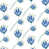Hand gezeichnetes einfaches blaues Blumenmuster vektor