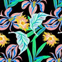 Handritad neon djärv blomsterblommönster med stora blommor vektor