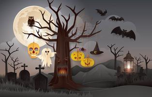 Halloween nattfest med kyrkogården vektor