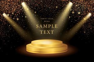 Scheinwerfer auf der Bühne und Gold Glitter vektor