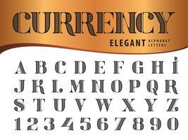 Eleganta alfabetbokstäver och siffror