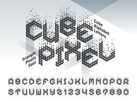 Cube Pixel Alfabetet bokstäver och siffror