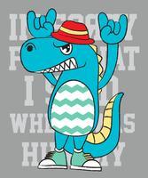 Übergeben Sie gezogenes nettes Monster mit Hut und Turnschuhen vor Textillustration vektor