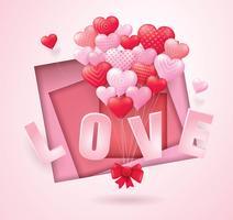 Rote und rosa Ballon-Herzen, die Bündel in Form des Herzens fliegen