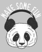 Hand gezeichneter kühler Panda, der Musikillustration hört vektor