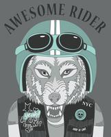 Hand gezeichneter kühler Wolf mit Sturzhelm- und Textillustration vektor