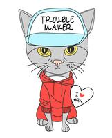 Handritad gullig katt som bär hatt och sweatshirtillustration vektor
