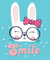 Übergeben Sie gezogenes nettes Kaninchen mit Gläsern und Bogenillustration
