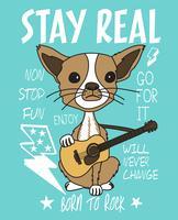 Übergeben Sie gezogenen netten Hund mit Gitarren- und Gekritzelillustration