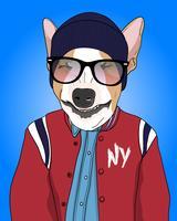 Hand gezeichnete tragende Jacken- und Beanieillustration des kühlen Hundes