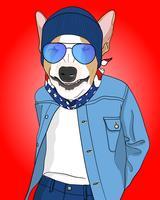 Handritad cool hund med beanie- och bandanaillustration