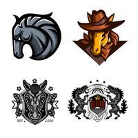 Pferd, Set Maskottchen-Logo vektor