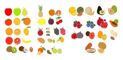 Uppsättning av frukt ikoner vektor