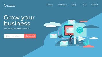 E-postmarknadsföring platt liten person vektorillustration målsida mall design