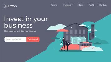 Fastigheter som investerar platta små personers målsida design vektor