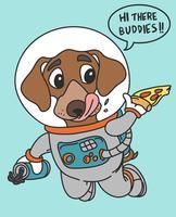 Handritad cool utrymmehund som håller pizza och drinkillustration vektor