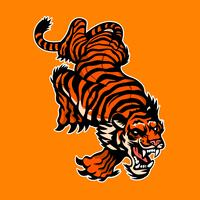Verärgerter Tiger, Maskottchenlogo, Aufkleberdesign vektor
