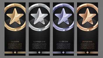 Uppsättning av svarta banners, guld, platina, silver och bronsstjärna vektor