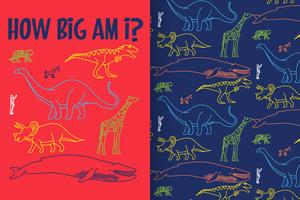 Wie groß bin ich Hand gezeichneter Dinosaurier mit Mustersatz vektor