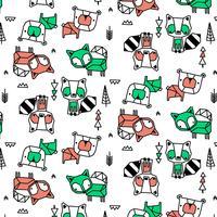 Handritad tvättbjörn, räv, björnmönster vektor