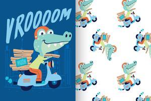 Vrand gezeichnetes nettes Krokodil mit Mustersatz vektor
