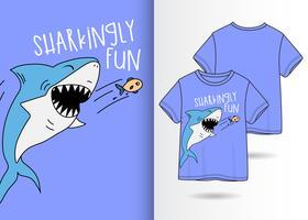 Handritad söt haj-t-shirtdesign vektor