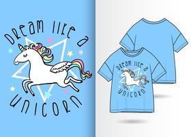 Niedlicher Einhorn-T-Shirt Entwurf vektor