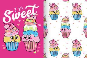 Jag är Sweet Hand Drawn Cute Cupcake med mönsteruppsättning vektor