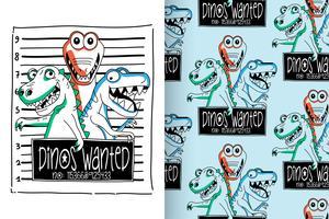 Dinos Wanted Handritad söt dinosauriemönsteruppsättning vektor