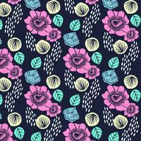 Handritad färgglada djärva blommablommönster